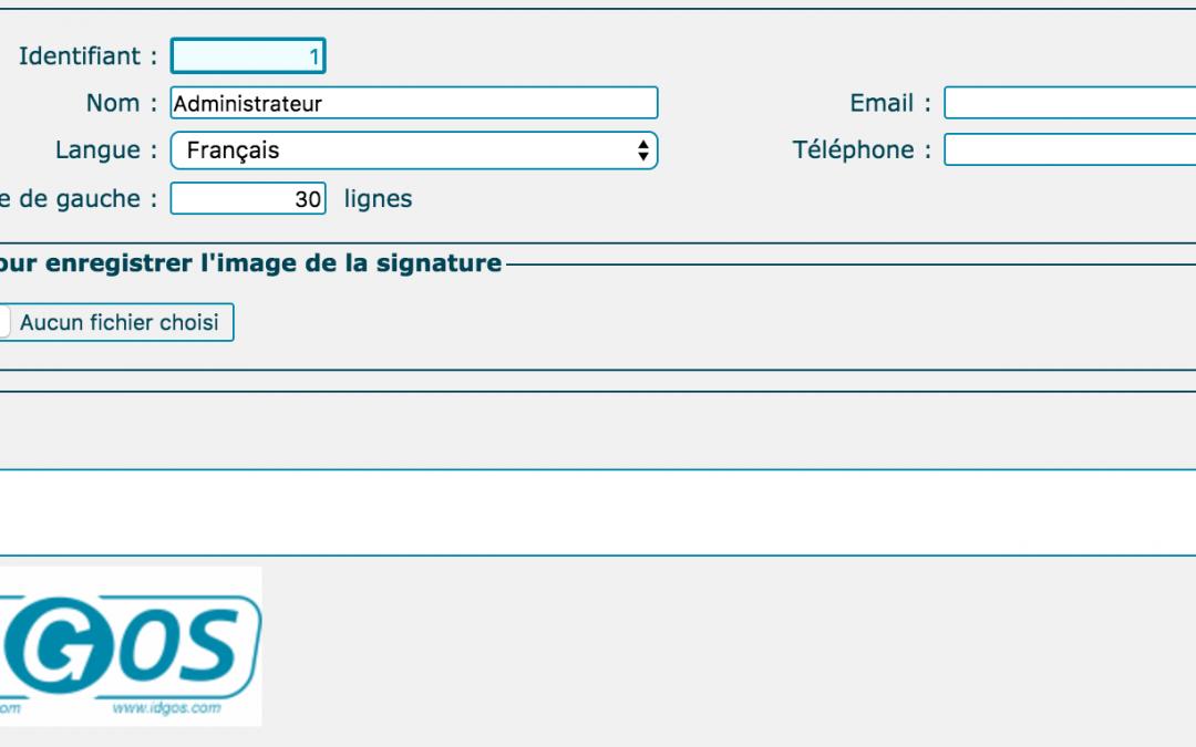 Créer votre utilisateur dans IDGOS