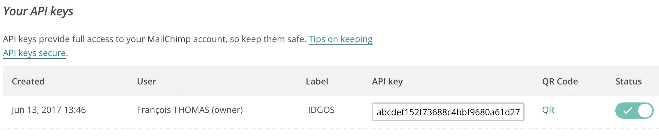 API Key dans MailChimp